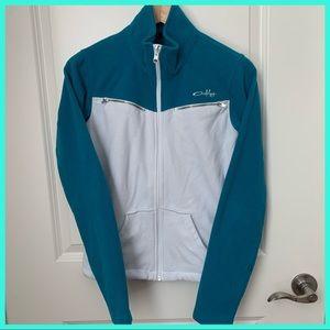 Oakley White & Teal Fleece Zipper Jacket XS